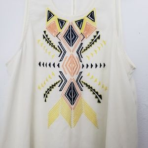 Umgee Tops - Umgee Tribal Embroidered Crew Neck Blouse